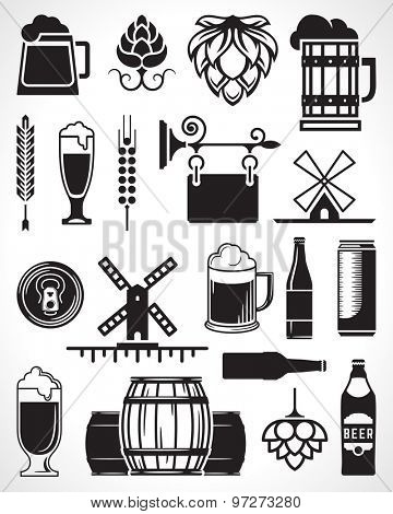 Beer retro design elements, labels, signs, symbols and icons vector set