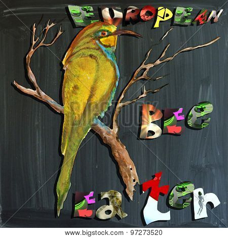 Joyous Child-s World, Mixed Media, Bird, European Bee-eater