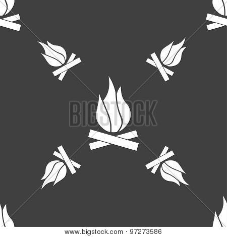 A Fire Icon Sign. Seamless Pattern On A Gray Background. Vector