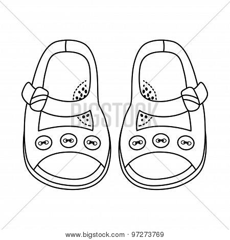Hand Drawn Illustration Of Fashionable Shoe For Girl