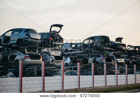 Stacked Crushed Cars For Parts