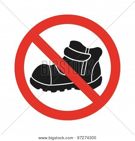 Do Not Walk In Shoes Sign Icon. red Prohibition Sign