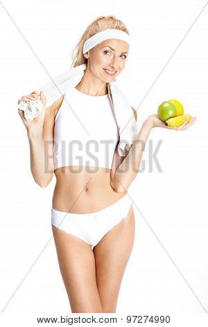 Smiling Blonde Girl On Diet.