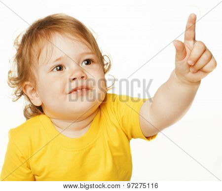 little cute baby girl pointing isolated on white