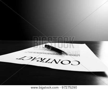 The image of a business contract