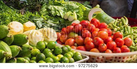 Various Fresh  Fruits And  Vegetables On The Market
