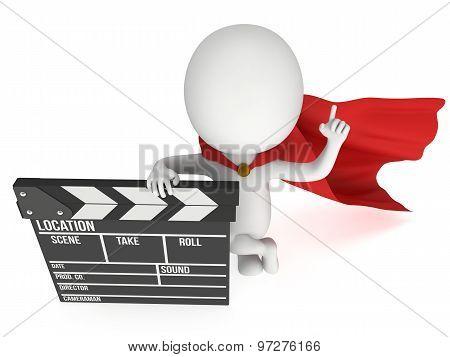 3D Superhero With Cinema Clapperboard