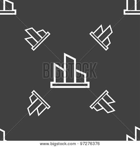 Diagram Icon Sign. Seamless Pattern On A Gray Background. Vector