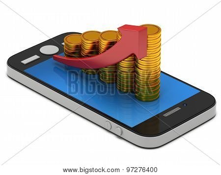 Gold Coins Bar Graph On Smartphone