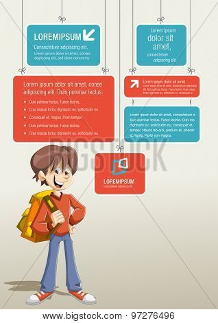 Red and blue template for advertising brochure with cartoon young student boy with backpack.
