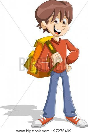 Cartoon young student boy with backpack. Teenager.