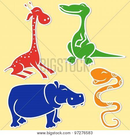 Giraffe, Crocodile, Hippo And Boa