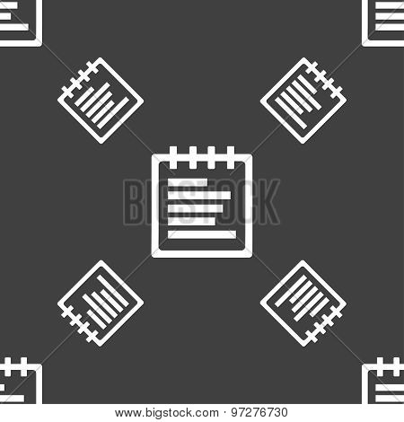 Notepad Icon Sign. Seamless Pattern On A Gray Background. Vector