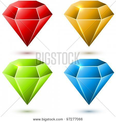 Color diamond vector set isolated on white background.