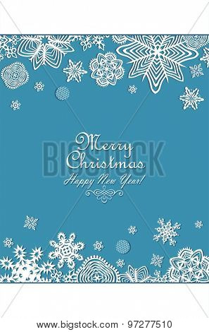 Seasonal greeting vertical banner paper snowflakes