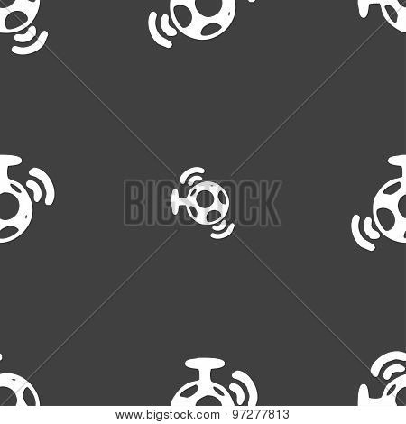 Mirror Ball Disco Icon Sign. Seamless Pattern On A Gray Background. Vector
