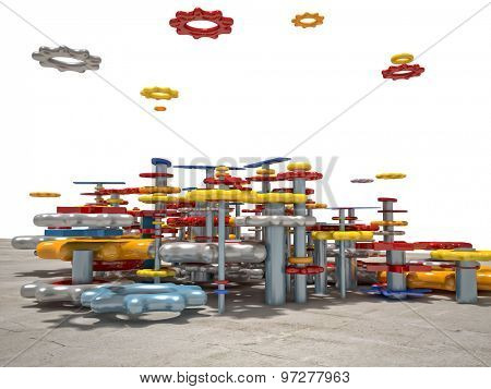 3d image of colorful toy gear