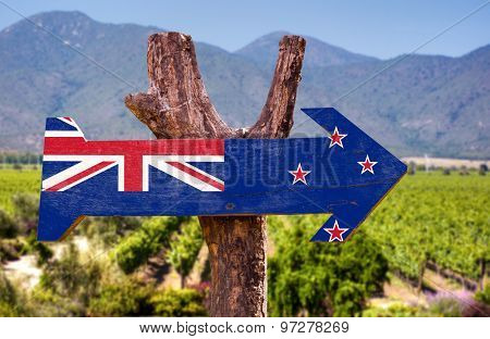 New Zealand Flag wooden sign with winery background