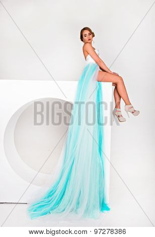 Girl In A Long Dress With Plume On A White Background