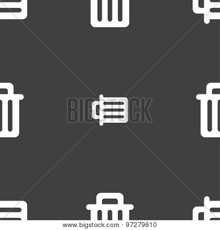 Recycle Bin Icon Sign. Seamless Pattern On A Gray Background. Vector