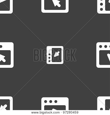 The Dialog Box Icon Sign. Seamless Pattern On A Gray Background. Vector