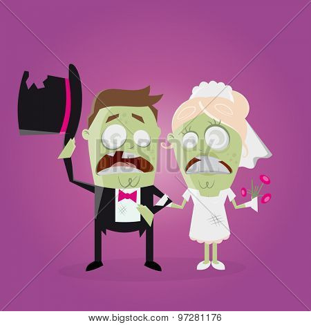 funny zombie wedding couple