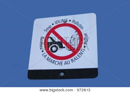 Bilingual Stop Idling Sign