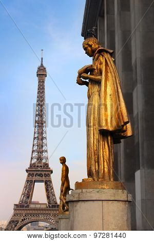 Paris Golden Statue And Eiffel Tower