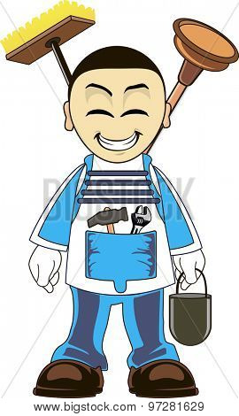 Plumber dressed in clothes of work, in a tool in the hand