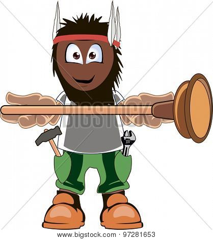 A cartoon plumber holding plunger and smiling