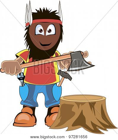 Cartoon lumberjack holding an axe. Isolated on white.