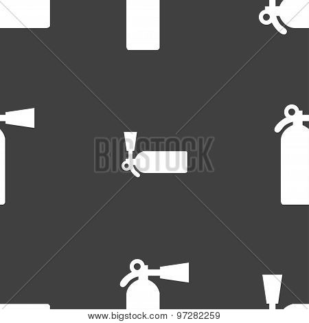 Extinguisher Icon Sign. Seamless Pattern On A Gray Background. Vector
