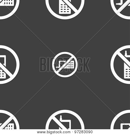 Mobile Phone Is Prohibited Icon Sign. Seamless Pattern On A Gray Background. Vector
