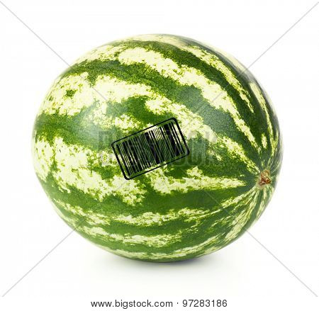 Juicy watermelon with barcode isolated on white