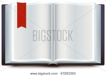 Open book with red bookmark