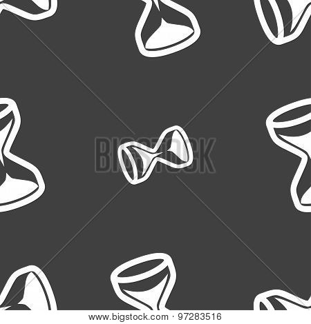 Hourglass Icon Sign. Seamless Pattern On A Gray Background. Vector