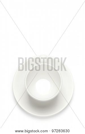 Coffee cup over white background. Top view
