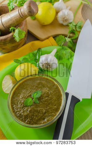 Coriander Mint Chutney In A Bowl