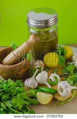 coriander mint chutney in a jar