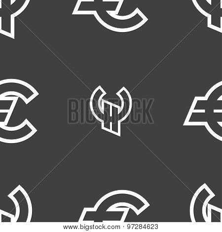 Euro Eur Icon Sign. Seamless Pattern On A Gray Background. Vector