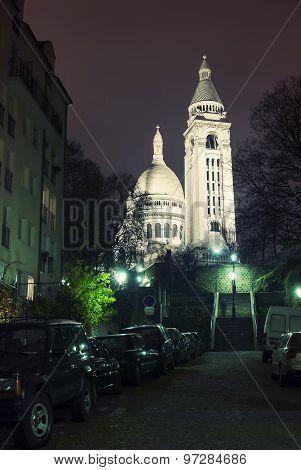 The Sacre Coeur Basilica At Night, Paris.