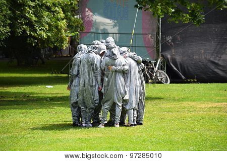 Group in Silver Costumes