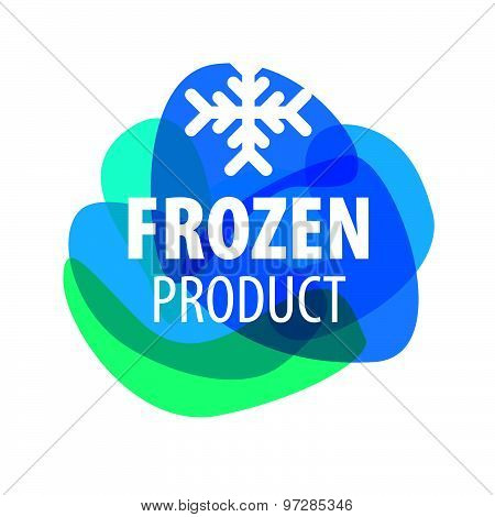 Blue Vector Logo For Frozen Foods With Snowflake