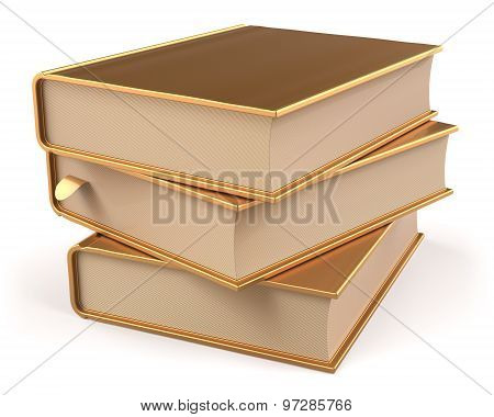 Books Yellow Gold Blank Golden Textbooks Stack Three