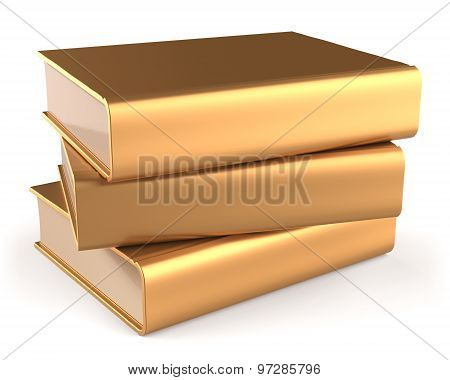 Books Golden Three 3 Textbook Stack Blank Yellow Gold