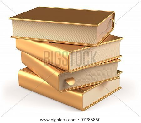 Golden Books Yellow Gold Blank Textbooks Stack Content