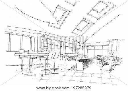 Sketch Interior Of A Public Building