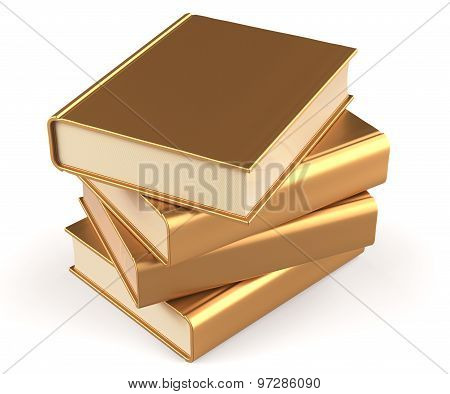 Books Textbooks Stack Gold Blank Yellow Golden Four