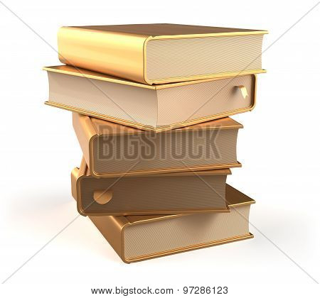 Textbooks Golden Book Stack Of Books Covers Gold Blank