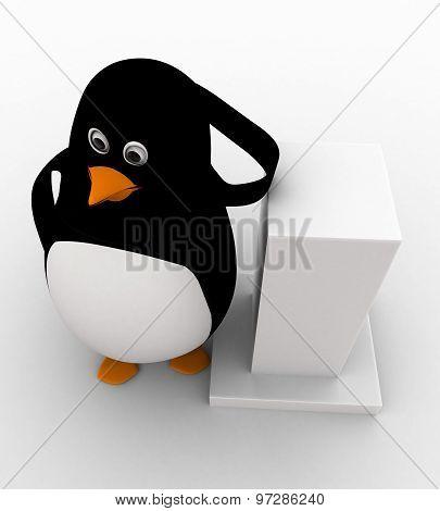 3D Penguin Leaning On Pillar Concept